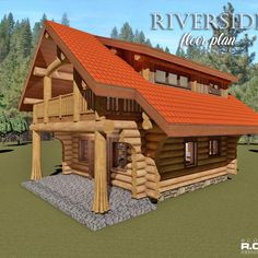 Log Home Floor Plans The Riverside floor plan is a cozy cabin style design that offers a kitchen, li Cabin Loft, Cozy Cabin, Log Cabin Builders, Log Home Floor Plans, Small House Design, Home Additions, Design Firms, Log Homes, Second Floor