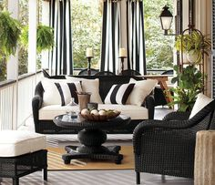 22 Porch, Gazebo and Backyard Patio Ideas Creating Beautiful Outdoor Rooms in Summer wicker furniture with stripes cushions in white and blue colors Outdoor Drapes, Outdoor Rooms, Outdoor Furniture Sets, Outdoor Decor, Outdoor Pillow, White Wicker Patio Furniture, Outdoor Paint, Black Furniture, Outdoor Cushions