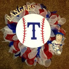 Texas rangers Deco Mesh wreath I am working.