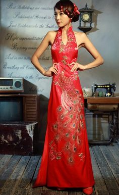 Custom Made Chinese Qipao - Cheongsam Wedding Dress Oriental Dress, Oriental Fashion, Asian Fashion, Chinese Fashion, Cheongsam Wedding, Cheongsam Dress, Chinese Gown, Chinese Dresses, Peacock Dress