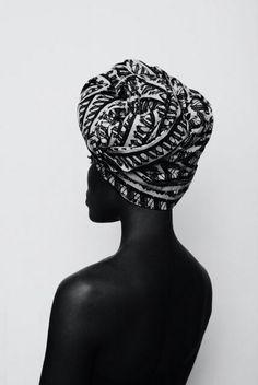 gorgeous black & white head wrap, fashion, style, turban