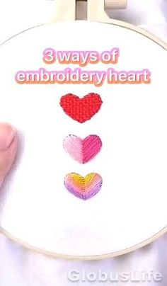 Embroidery Hearts, Hand Embroidery Videos, Embroidery Stitches Tutorial, Machine Embroidery Projects, Flower Embroidery Designs, Simple Embroidery, Hand Embroidery Stitches, Embroidery Techniques, Embroidery Kits