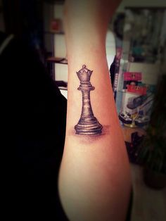 chess piece tattoo grey scale black and white More