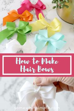 Make hair bows quickly and easily with our simple step-by-step picture tutorial! Bow Tutorial, Making Hair Bows, How To Make Hair, Easy Hairstyles, Make It Simple, Hair Styles, Fashion, Hair Plait Styles, Moda