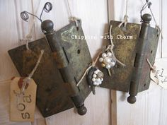 DIY:  Hinge Butterflies...made from old door hinges, vintage jewelry, wire and magnets. Very creative!!!