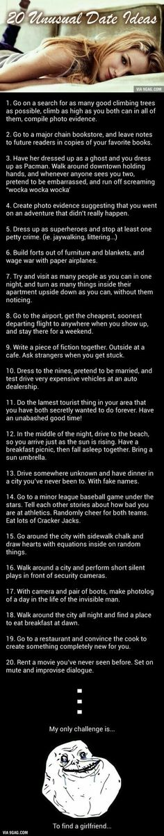 Challenge Accepted: 20 Unusual But Awesome Date Ideas - Date night ideas Dating Quotes, Dating Advice, Dating Humor, Unusual Date, Cute Date Ideas, Gift Ideas, Challenge Accepted, Love Is In The Air, Romantic Dates