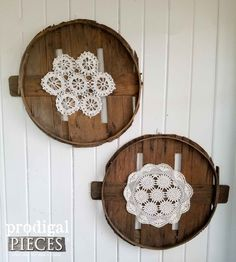Repurposed Barrel Lid Art with Vintage Handmade Doilys ~ Reclaimed Upcycled Wall Art ~ Farmhouse Cottage Chic ~ Rustic Modern Home Decor by Prodigal Pieces. prodigalpieces.com