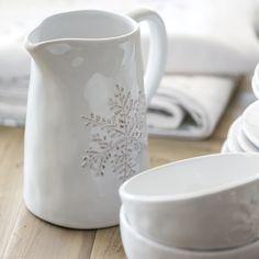 Pichet en grès blanc avec motif flocon Snowflake Athezza