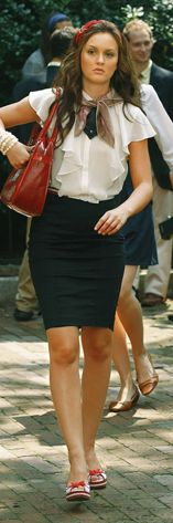 Leighton Meester: Black Skirt And White Blouse With Red Handbag, Perfect Work Chic.