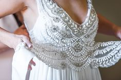 Anna Campbell Vintage-inspired Coco Dress   Ivory hand-beading v-neck wrap dress finished with a silk bow   Style Me Pretty   Napa Valley Destination Wedding at Triple S Ranch
