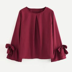 Flare sleeve shirt women blouses sweet bow tie long sleeve o neck blouse spring European style ladies fashion casual tops blusas(China) Red Blouses, Shirt Blouses, Blouses For Women, Blouse Styles, Blouse Designs, Formal Tops For Women, Looks Chic, Chiffon Shirt, Casual Tops