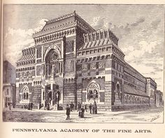 The PA Academy of the Fine Arts is located at Broad and Cherry Streets.  From The Philadelphia Record Almanac for 1888.