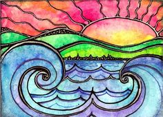 watercolor and ink sunset