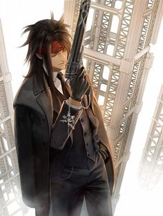 closed_eyes coat final_fantasy final_fantasy_vii formal gun headband highres jacket_on_shoulders long_hair male_focus solo suit vincent_valentine weapon Final Fantasy Vii, Artwork Final Fantasy, Final Fantasy Characters, Fantasy Series, Fantasy World, Manga Anime, Fanarts Anime, Anime Guys, Valentines Tumblr