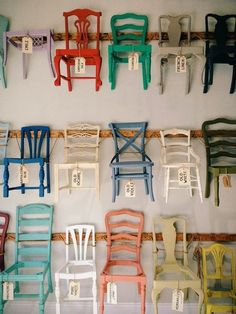 Given the space, I would hang chairs like others hang art work. Can chairs themselves be pieces of art?