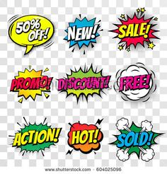 Sale promo discount shopping comic text speech bubble vector isolated percent off offer icon templates set. Sound effect cloud of color phrase lettering elements on transparent background