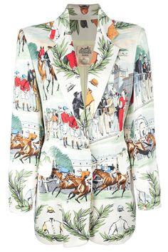 Hérmes Vintage Horse Racing Print Jacket, $1,799.22; farfetch.com