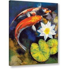 Michael Creese Koi Fish and Water Lily Gallery-wrapped Canvas, Size: 18 x 24, Orange