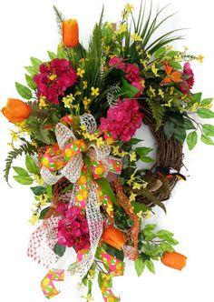 Spring Tulip Wreath, Pink Hydrangea Wreath, Easter wreath, Spring Birdnest Wreath, Spring door wreath, Summer wreath, Mothers Day Wreath by SistersFloralandGift on Etsy