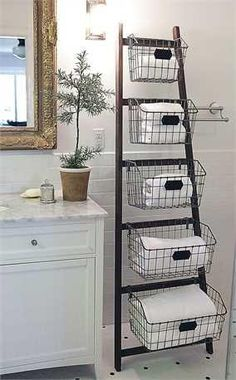 DETAILS ThisWood ladder is a great tool for storingtoiletries in the bathor stuff in the kitchen , featuring 5 wire baskets for ample storage facility. Pr