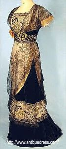 1909 Evening gown - no train with high waist. The start of the new look
