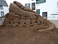 The East Neuk Sand Train sand sculpture made by sandinyoureye.    Stay in Crail at self-catering Sandcastle Cottage: http://www.2crail.com