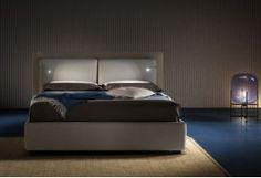 BOMBAY - letto matrimoniale con luci a led e contenitore ( GIROLETTO A TERRA H 30 con piedini H 5 cm. ) letto moderno in tessuto - SOFA CLUB