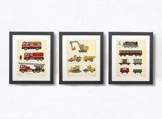Toddlers Room Decor, Construction Decor, Truck Prints, Train Wall Art, Prints…