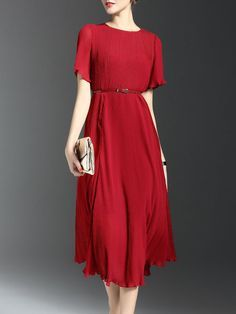 Chiffon Ribbed Casual Short Sleeve Midi Dress with Belt