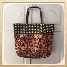 "HP 12/7 NWT Black Leopard Rhinestone Studded Bag Host Pick! 12/7/15! ""Work Week Chic Party!""This is an amazing bag! It is suede lined with lots of inside pockets! The studs and rhinestones are so pretty! Very nicely made! 19X16 Chosen by @randi21 please check out her fabulous closet! Boutique Bags Totes"