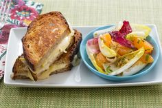 Fontina & Preserved Lemon Grilled Cheese Sandwiches with Endive, Clementine & Mint Salad. Visit https://www.blueapron.com/ to receive the ingredients.