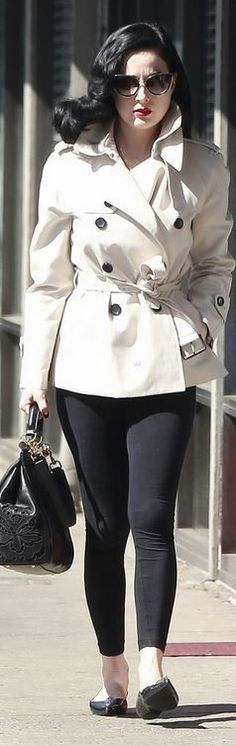 Dita Von Teese, tan trench coat