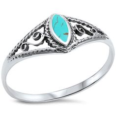 CZ Stone Type: turquoise. Setting: Solid. 925 Sterling Silver. Diamond Jewelry. Gold Jewelry. Silver Jewelry. Finger Size: Sizes 5-10. you can find out what U.S. finger size you wear by viewing ourFinger size conversion chart.