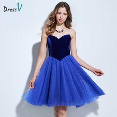 Dressv sweetheart A-line blue homecoming dress sleeveless knee-length ruched homecoming dress&graduation dress short party dress #Affiliate