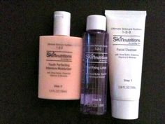 Review on Skinnutritions Ultimate Skincare System 123.  Step 1, Facial Cleanser, doesn't have a particular smell, cleanses well, skin feels refreshed, doesn't dry it out.  Haven't seen results from Step 2, Clarifying Lotion.  It's supposed to improve your skin tone overall.  Loved Step 3, Youth Perfecting Intensive Moisturizer.  Smells nice, light refreshing smell, leaves soft skin.  It prevents the first stages of line formation.  All 3 products are dermatologist developed and tested.