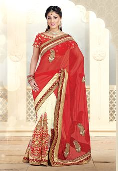 #Red and Off White Net and Faux Georgette #Saree with Blouse