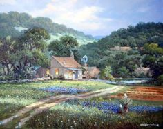Peaceful Glow ~ by George Kovach ~ Farmhouse Country Art, Country Life, Country Roads, Illustration Art, Illustrations, Southwest Art, Peaceful Places, Blue Bonnets, Classic Image