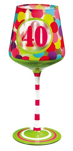 Amazon.com | Cypress Home 40 Hand-Painted Wine Glass, 12 ounces: Wine Glasses