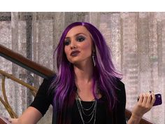 Peyton List's Hair Makeover: Dyes Hair Purple For 'Jessie' Emma Ross, Jessie Emma, Peyton List, Disney Channel Stars, Christina Moore, Serie Disney, Jennifer Jareau, Dyed Hair Purple, Star Wars