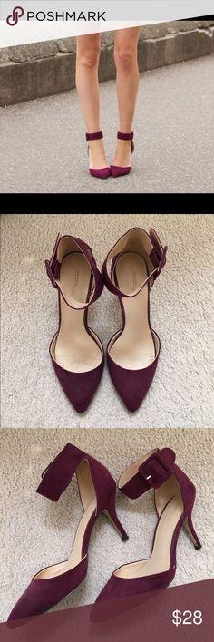 Zara Burgundy Suede Ankle Strap Pump Zara Burgundy suede pump with ankle strap! Zara Shoes Heels