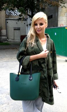 Fullspot O bag in Olive green with Black Leather Handle #handbags so fashionable!!!