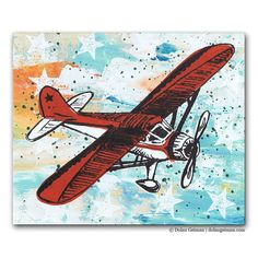Airplane Painting Red White and Blue American Flag by dolangeiman, $45.00