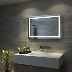 AQUABATOS x Illuminated LED Bathroom Mirror LED Mirrors Light with Sensor + Demister + Adjustable Warm White/Daylight Lights + Dimmable Memory Touch Button + Waterproof Bathroom Mirror Lights, Mirror With Led Lights, Mirrors, Wall Mounted Mirror, Led Light Strips, Strip Lighting, White Light, House, Haus
