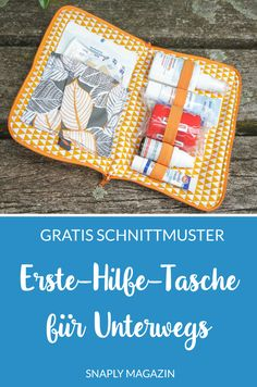 Sew on first aid bag for sewing with this free sewing pattern in . Erste-Hilfe-Tasche für Unterwegs nähen mit diesem kostenlosen Schnittmuster in… Sew on first aid bag for sewing with this free pattern including DIY instructions from Snaply Sewing Patterns Free, Free Sewing, Free Pattern, Sewing Hacks, Sewing Tutorials, Sewing Tips, Sewing Ideas, Sewing Crafts, Sewing Projects For Beginners