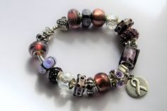 Violet Awareness European Large Hole Beaded Bracelet  Beads Large Hole Bracelet Charm Bracelet Rhinestone Charm Bracelet Hodgkin's Lymphoma by BlingItOutLoudCharms on Etsy