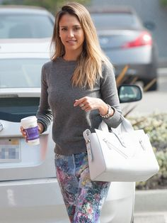 Jessica Alba's Weekend Essential: Splatter-Paint Jeans via @WhoWhatWear