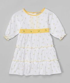 Love this White & Yellow Floral Dress - Toddler & Girls on #zulily! #zulilyfinds
