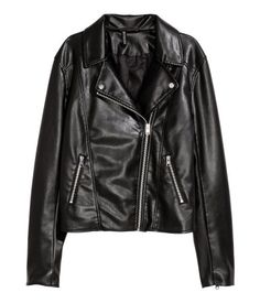Black. Biker jacket with diagonal zip at front. Lapels with decorative metal buttons, side pockets with zip, and zips at cuffs. Lined.