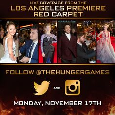 Don't forget to follow #TheHungerGames on Twitter and Instagram for LIVE coverage from the #MockingjayPremiere tomorrow night!  Follow The Hunger Games Twitter: http://twitter.com/thehungergames  Follow The Hunger Games Instagram: http://instagram.com/thehungergames