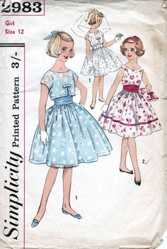 50s Simplicity sewing pattern 2983, girls dress sewing pattern, bust 30 inches, age 12 years, dress with Cummerbund and jacket